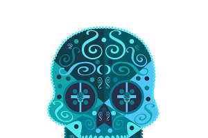 Skull vector icon blue