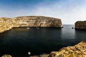 Panorama view to Dwejra bay and Fungus rock, Gozo, Malta