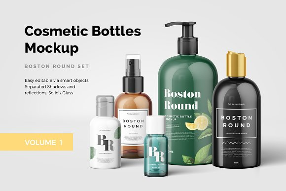 Download Cosmetic Bottles Mockup Vol.1