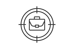 Aim on briefcase linear icon