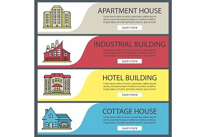 Buildings web banner templates set