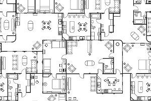 House floor plan, seamless pattern