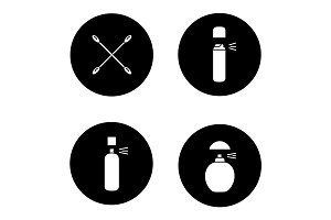 Women's hygienic products glyph icons set
