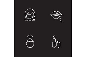 Cosmetics chalk icons set