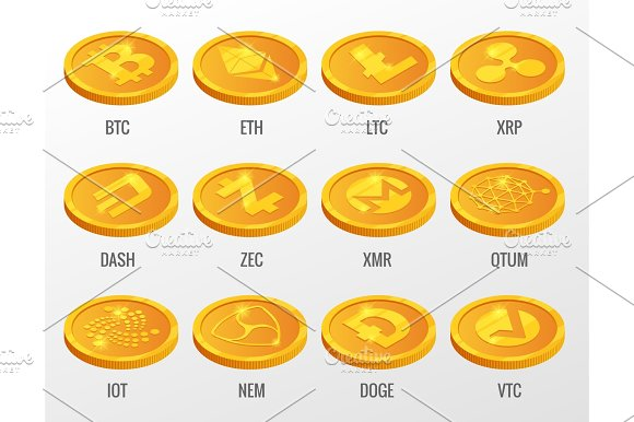Isometric Vector Set Of Cryptocurrency Gold Coins With Bitcoin ETH LTC XRP DASH ZEC XMR QTUM IOT NEN DOGE VTC Digital Virtual Currency Form Of Money Uses Cryptography For Security