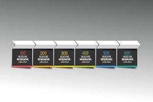 Timeline, 6 steps infographics