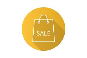 Sale flat linear long shadow icon