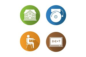 Education flat design long shadow glyph icons set