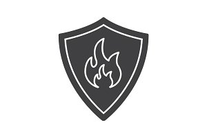 Firefighters badge glyph icon