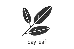 Bay leaves glyph icon