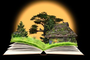 Fairy tale on the pages of an open book. Rustic old house, a forest glade with flowers. Idyllic picture for kids
