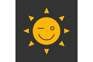 Winking sun smile glyph color icon