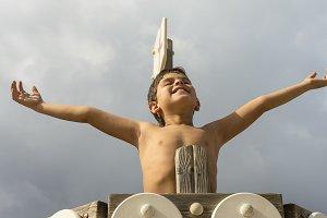 Boy celebrating victorious