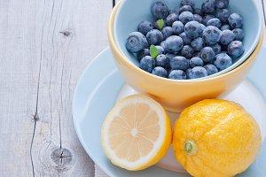 Blueberries and lemon