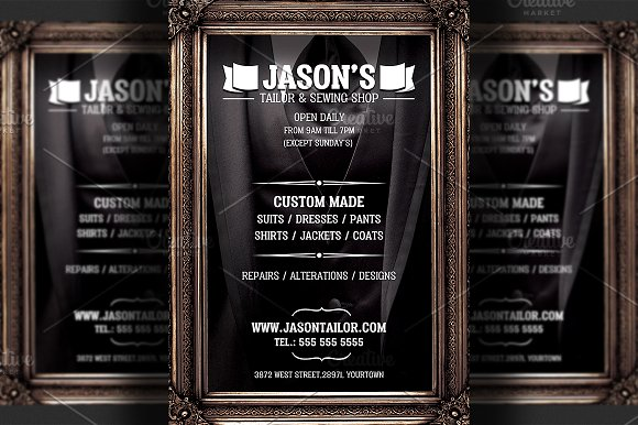 tailor shop flyer template templates creative market