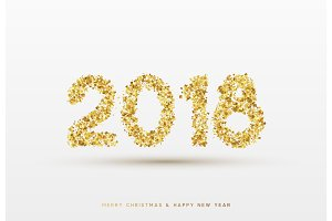 2018 Happy New Year. Gold confetti numbers, design for postcards, banners, posters, website