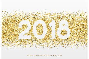 2018 Happy New Year. Gold confetti and white numbers, design for postcards, banners, posters, website