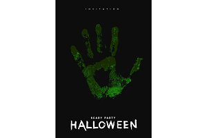 Happy Halloween. Hand in the green.