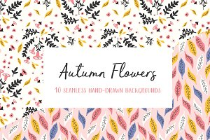 Autumn Flowers Seamless Patterns
