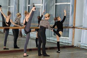 Ballet class in studio with choreogr