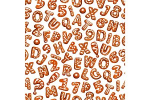 Christmas cookie font seamless pattern background