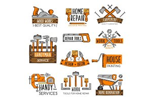 Work tool sketch emblem set for home repair design