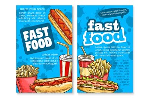 Fast food lunch sketch poster template set design
