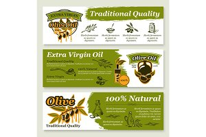 Olive oil and fruit healthy food banner template