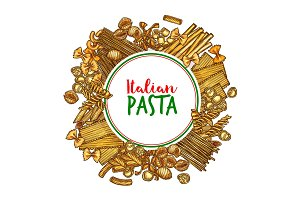 Pasta vector banner of italian spaghetti sketch