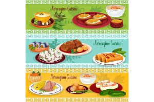 Norwegian cuisine seafood lunch banner set