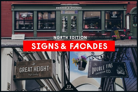 Signs&Facades Mockups North-Graphicriver中文最全的素材分享平台