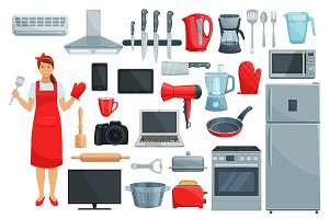 Home appliances, kitchenware, kitchen utencils set