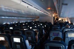 Cabin of modern passenger airplane