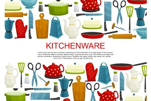 Kitchenware, kitchen utensils and tool banner