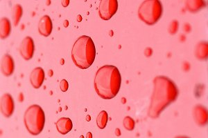 rain drops on red