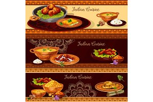 Indian cuisine restaurant banner for thali design