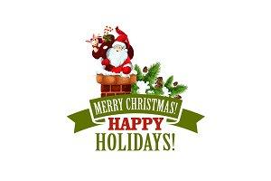 Merry Christmas Santa Xmas tree vector icon
