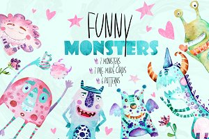 Funny Monsters| watercolor set