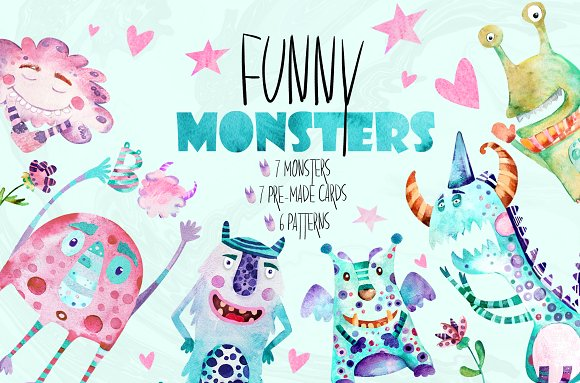 Funny Monsters| watercolor -Graphicriver中文最全的素材分享平台