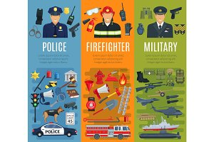 Police, firefighter and military profession banner