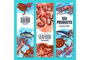 Seafood, fish and sea product sketch banner set