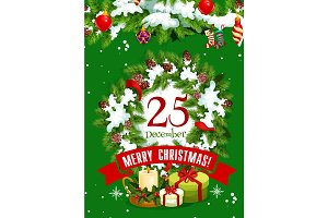 Christmas tree wreath greeting card of Xmas design
