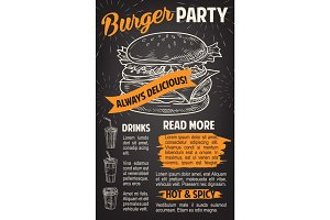 Burger poster for fast food restaurant template