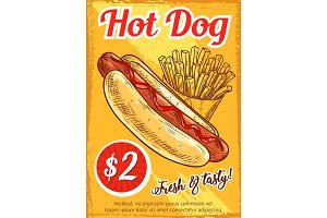 Hot dog fast food restaurant retro poster template