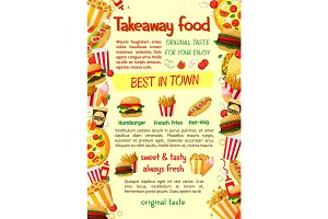 Fast food burger and drink banner template