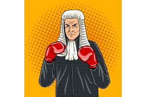 Judge with boxing gloves pop art vector