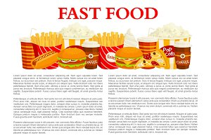 Fast food poster of vector burger, drink, dessert