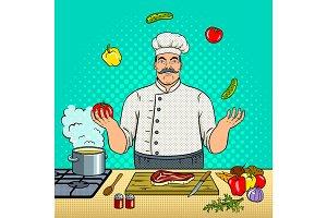 Chef juggles with vegetables pop art vector