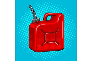 Gasoline jerrycan pop art vector illustration