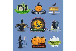 Halloween trick or treat holiday vector icons